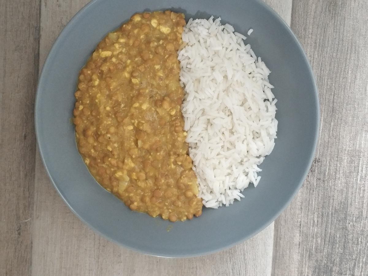 curry rápido de lentejas